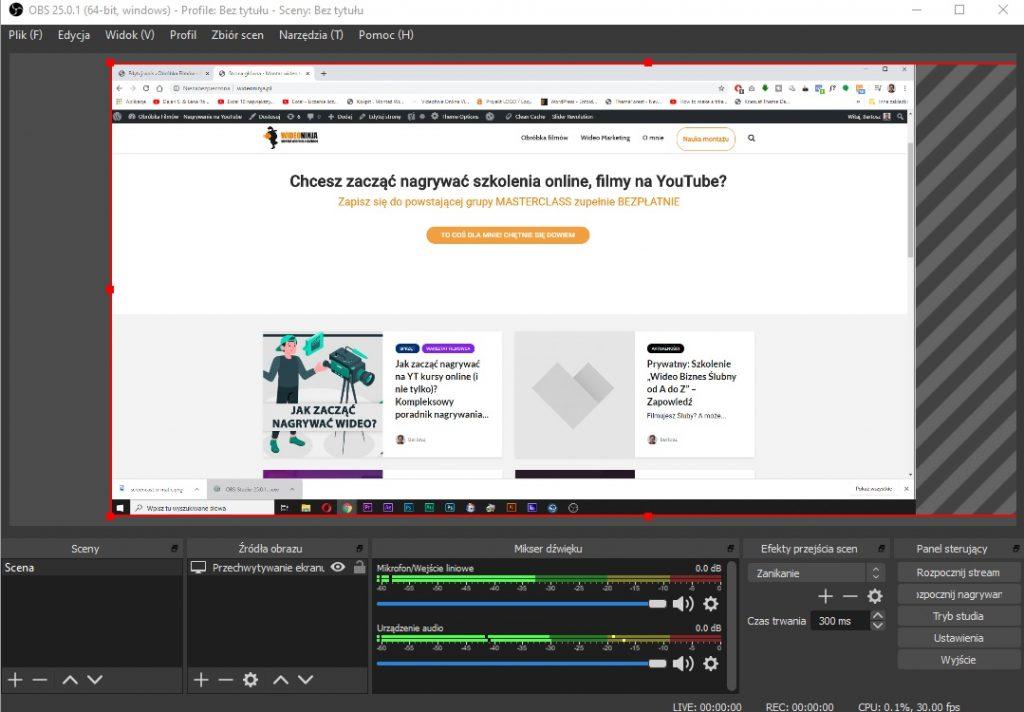 nagrywanie ekranu OBS studio
