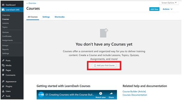 learndash - dodanie kursu online